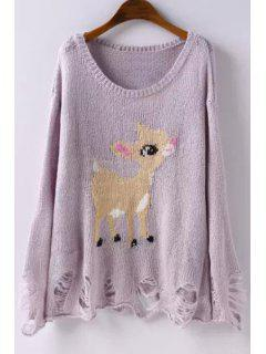 Deer Pattern Scoop Neck Long Sleeve Jumper - Purple L