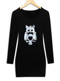 Long Sleeve Night Owl Thick Dress - Black L