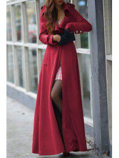 Lapel One Button Faux Wool Coat - Red M