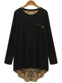 Long Sleeve Leopard Back Loose T-Shirt - Black 4xl