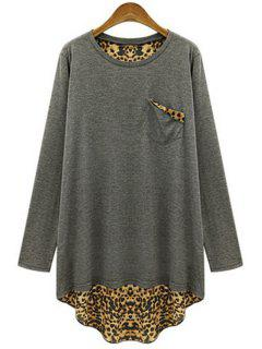 Long Sleeve Leopard Back Loose T-Shirt - Gray 2xl