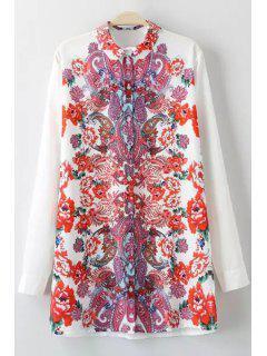 Paisley Print Turn Down Collar Long Sleeves Shirt - White Xl
