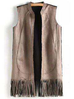 Solid Color Tassels Stand Neck Waistcoat - Off-white M