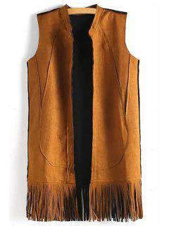Solid Color Tassels Stand Neck Waistcoat - Yellow M
