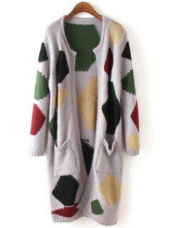 Long Sleeve Geometric Pattern Scoop Neck Cardigan - Gray