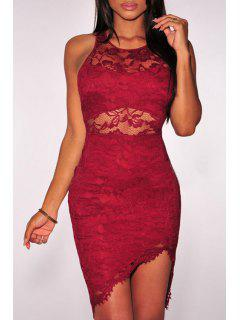 Solid Color Bodycon Round Collar Sleeveless Lace Dress - Red