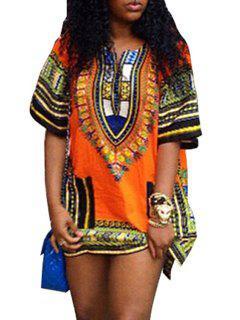 V-Neck Tribal Pattern Dress - Orange Xl