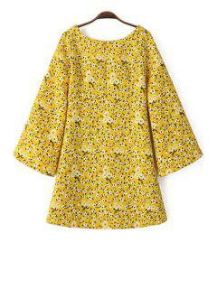Tiny Floral Print Scoop Neck Long Sleeve Dress - Yellow L