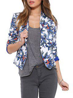 Blue Floral Long Sleeve Blazer - Blue M