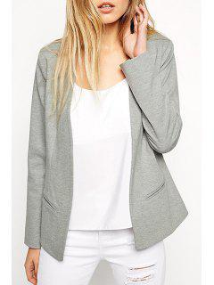 Gray Collarless Long Sleeve Blazer - Gray M