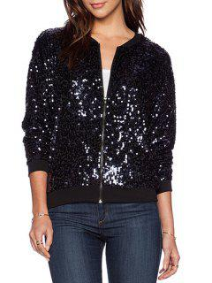 Sequins Stand Neck Long Sleeve Jacket - Black Xs