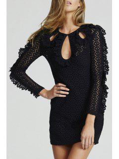 Lace Keyhole Neckline Long Sleeve Dress - Black M