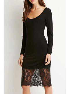 Lace Spliced Long Sleeve Black Dress - Black S