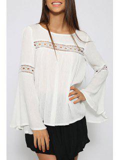 Long Sleeves White Chiffon Blouse - White M