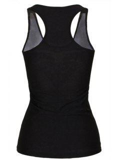 Black Stylish Lady Smile Print Women's Tank Top - Black