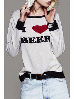 Letter Heart Embroidered Sweater - White Xl