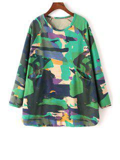 Printed Round Collar Long Batwing Sleeves Sweatshirt - Green L