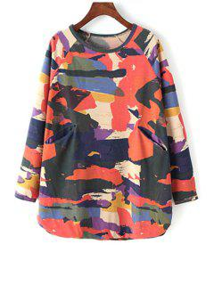 Printed Round Collar Long Batwing Sleeves Sweatshirt - Red Xl