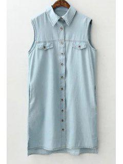 Solid Color Sleeveless Flat Collar Denim Shirt Dress - Light Blue S