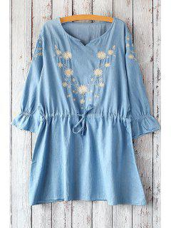 3/4 Sleeve Dandelion Pattern Dress - Light Blue