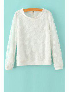 Flower Print Round Collar Long Sleeves Lace Sweatshirt - White L