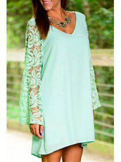 V-Neck Long Sleeves Solid Color Lace Hook Dress - Green M