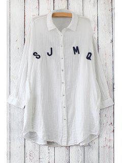 Long Sleeve Letter Pattern Long Shirt - White