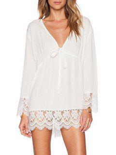 Lace Spliced Plunging Neck Long Sleeves Dress - White S