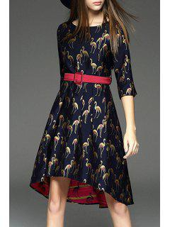 Swan Printed Round Collar Half Sleeves Dress - Purplish Blue Xl