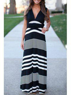 Plunging Neck Sleeveless Striped Dress - White And Black L