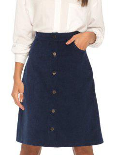 Solid Color Corduroy High Waisted Skirt - Deep Blue L