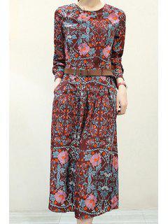Vintage Print Round Neck Long Sleeve Dress - Xl