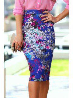 Floral High Waist Bodycon Skirt - Blue M