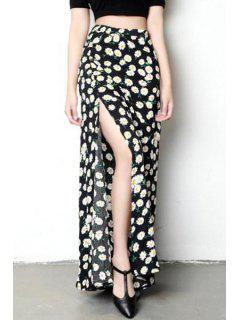 Side Slit Daisy Flower Print All Match Skirt - Black M