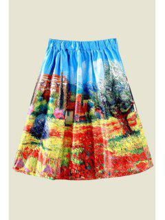 Scenery Print Ball Gown Skirt - Red