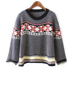 Ethnic Pattern Nine-Minute Sleeve Jumper - Black