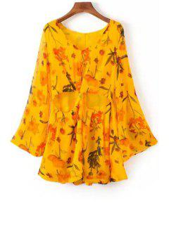 Cut Out V-Neck Long Sleeves Floral Print Romper - Yellow L