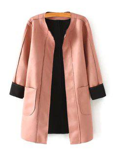 Pink Stand Neck Long Sleeve Coat - Pink S