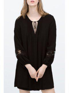 Solid Color V-Neck Lace-Up Long Sleeves Chiffon Dress - Black L