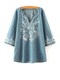 Floral Embroidery V Neck Long Sleeve Dress - Light Blue L