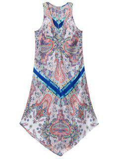 Printed V-Neck Sleeveless Asymmetric Dress - M