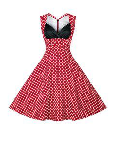 Polka Dot Ball Gown Vintage Dress - Red 2xl