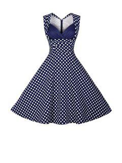 Polka Dot Ball Gown Vintage Dress - Purplish Blue L