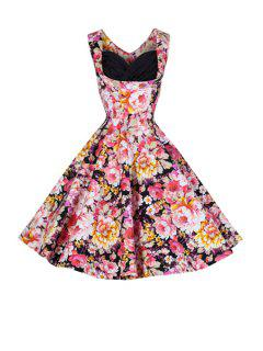 Full Floral Ball Gown Vintage Dress - Black Xl