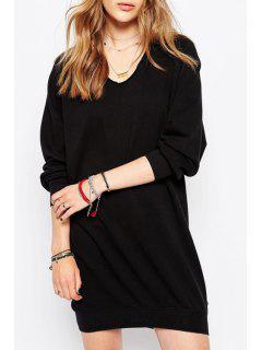 Black Scoop Neck Long Sleeves Dress - Black L