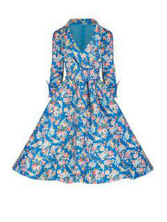 3/4 Sleeve Tiny Flower Print Dress - Blue L