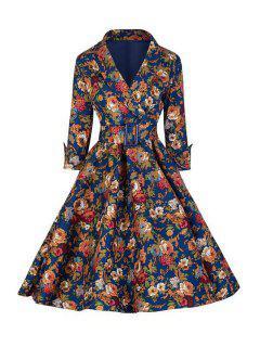 Floral Print Ball Gown Dress - Deep Blue 2xl