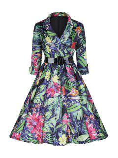 Large Floral Print Ball Gown Dress - Xl