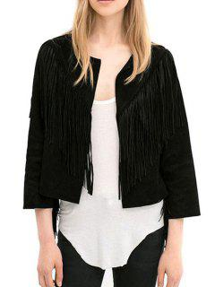 Open Front Tassels Jacket - Black L
