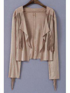 Open Front Tassels Jacket - Khaki M